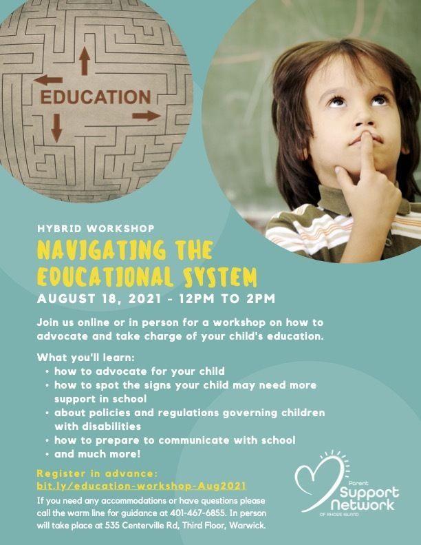 Navigating Educational System Hybrid Workshop flyer