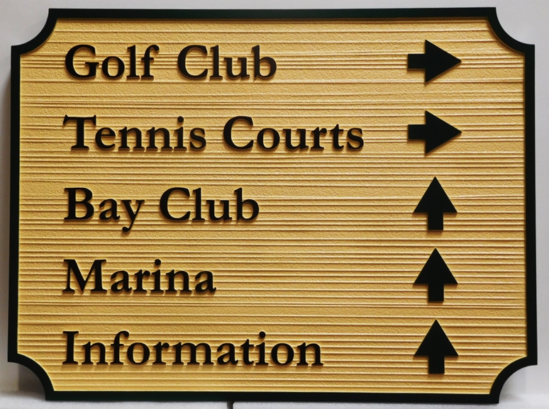 E14525 - Carved and Sandblasted Wood Grain Directional and Wayfinding Sign, 2.5-D Artist-Painted