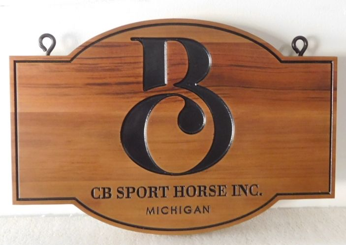 """P25097 - Engraved Cedar Hanging Sign for the """"CB Sport Horse"""" Company, with Logo/Brand as Artwork"""