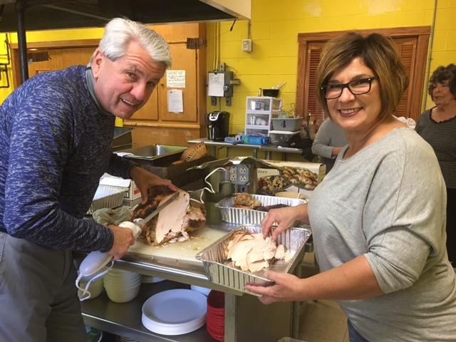 Tom Venturella & Maria Davenport at the JRC Adult Day Center Thanksgiving dinner