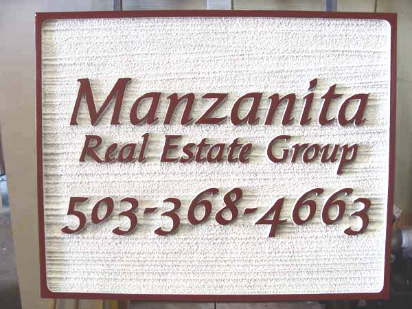 C12331 - Carved and Sandblasted Wood Grain Sign for Manzanita Real Estate Group