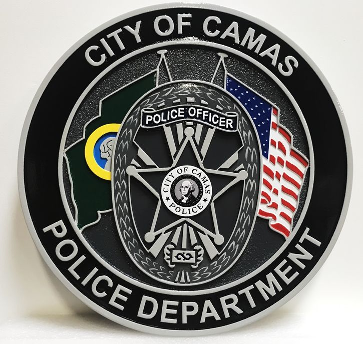PP-3102 - Carved Plaque of the Seal of Seal of the Police Department, City of Camas, 2.5-D Artist-Painted