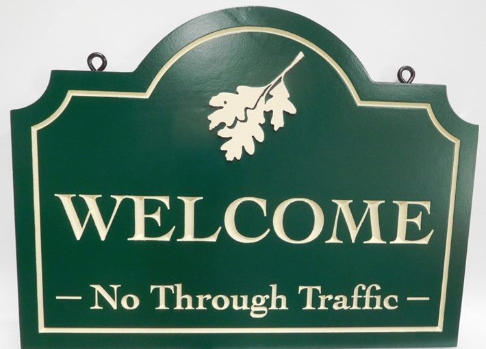 R27502 - Carved  HDU Welcome Sign for a Winery , 2.5-D Engraved Artist-Painted, with Oak Leaf as Artwork