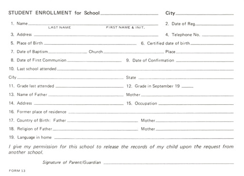 Student Enrollment Card