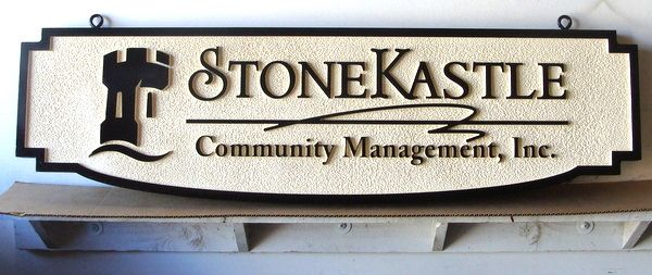 "K20161 - Carved and Sandblasted HDU Sign for ""StoneKastle"" Community Management, with Castle"