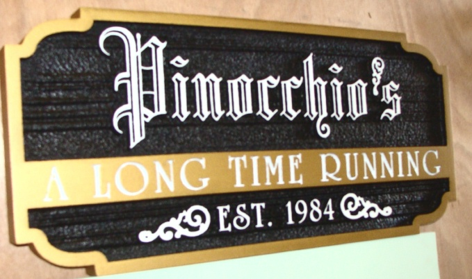"RB27110 - Carved Wood Wall Sign for""Pinocchio's  Bar"" with Raised & Engraved Text"