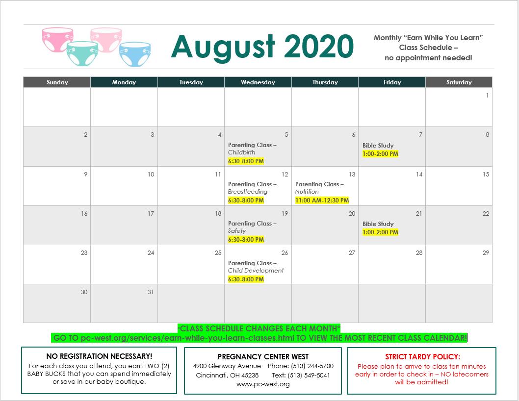 EWYL Classes -- August 2020
