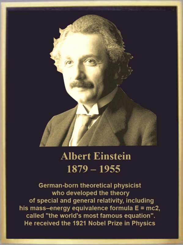 MB2398 - Brass-Plated Memorial Plaque with Giclee Photo of Police of Albert Einstein, 2.5-D