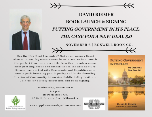 Putting Government in Its Place: The Case for a New Deal 3.0: PPI's David Riemer's Book Launch & Signing