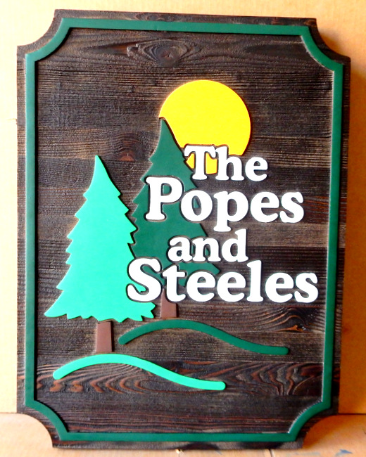 M3805 - Painted, Carved Cedar Wood Cabin Name Sign with Carved Trees and Moon (Gallery 21)