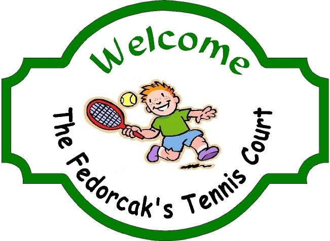 GB16852- Carved HDU  Entrance Sign for Fedorcak's Tennis Court