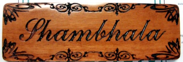 "SB28950 - Engraved  Carved Mahogany wood plaque ""Shambhala"" for a Store Display of the Brand"
