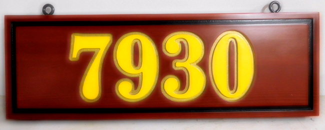 I18904 - House Number Address Sign, Carved from Cedar Wood