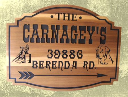 O24317 - Engraved Cedar Ranch Sign with Barrel Racer and Dog