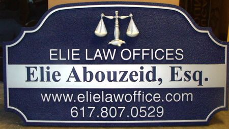 A10056 - Carved and Sandblasted Law Office Sign with 3D Scales of Justice