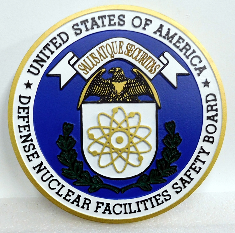 IP-1740 -  Carved Plaque of the Seal of the Defense Nuclear Agency Safety Board, Artist Painted