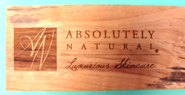 "SB28981 - Engraved  and Stained Wood Sign ""Absolutely Natural Skin Care Products"" for a Store Display"
