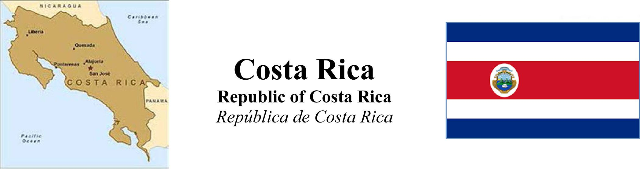 Costa Rica Map & Flag