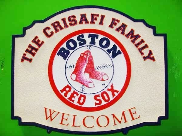 WP-1240 - Carved Wall Plaque of Logo for Boston Red Sox MLB, Personalized,  Artist Painted