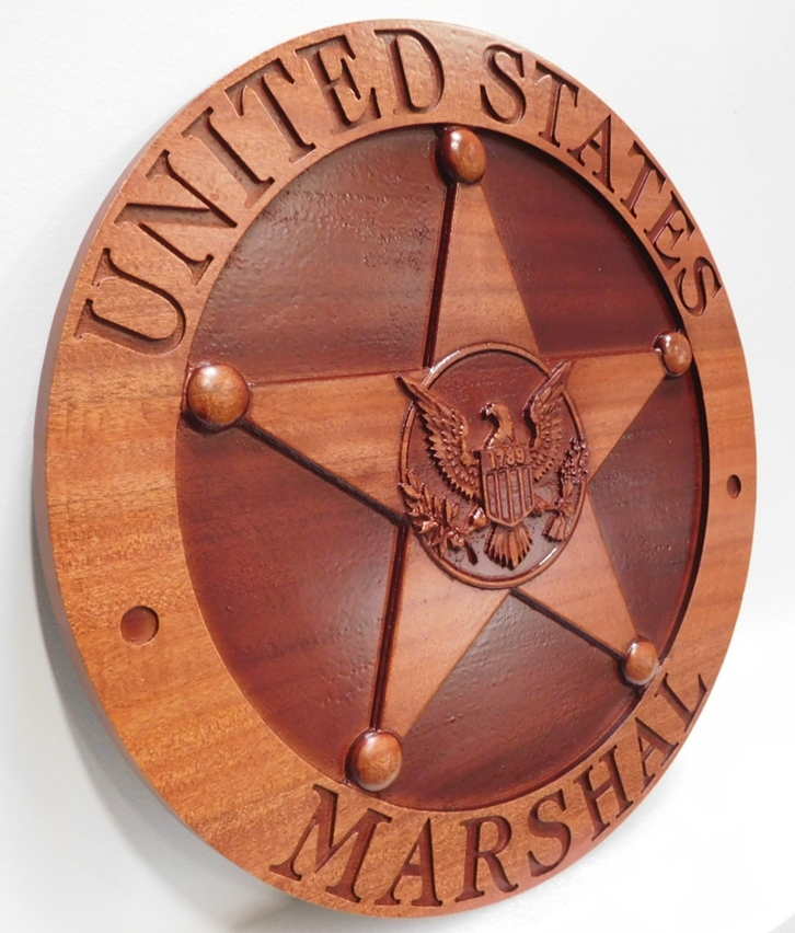 AP-2514- Carved Plaque of the Badge of the United States Marshall Service, Department of Justice. Mahogany (Side View)