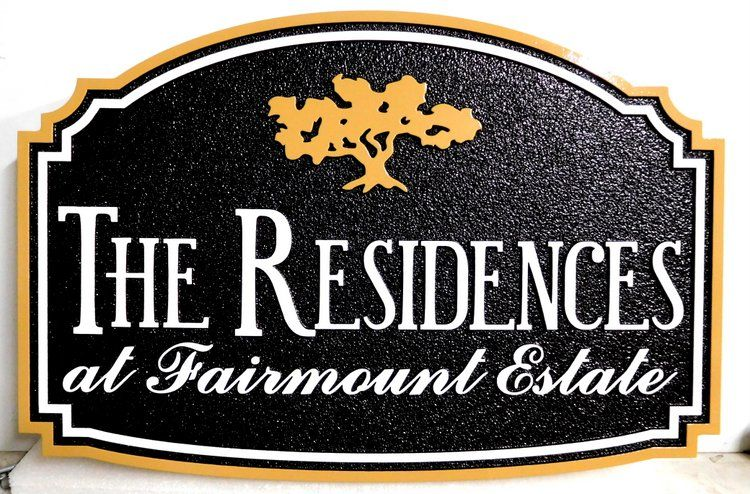 "K20211 - Carved HDU Sign for the ""Residences at Fairmont Estate""  Community"