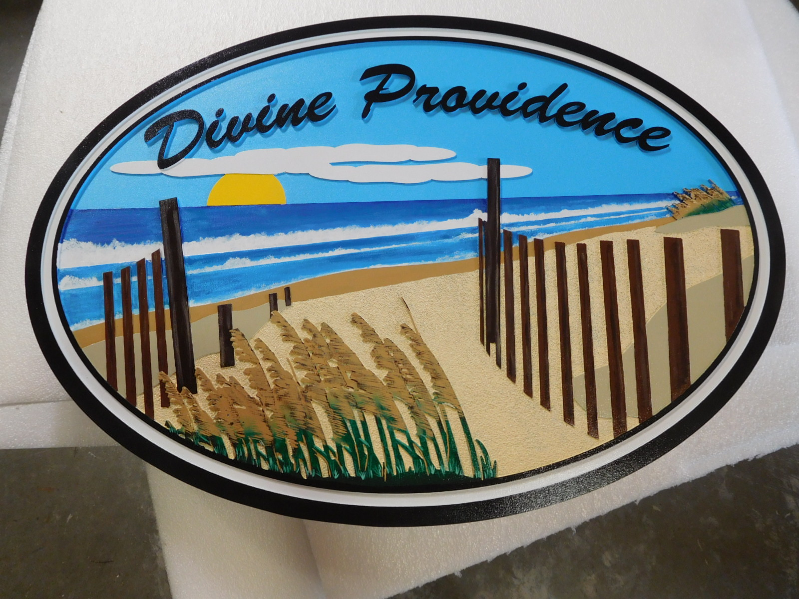 "L21100 - Carved ""Divine Providence""  Beach-House Sign, with Artwork of a  Scenic View of Plants, Sand, Sea and Sunset"