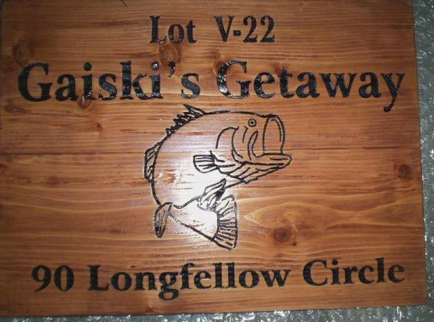 M22596 - Carved Cedar Wood Lake Home Address Sign with Engraved Text and Bass Fish