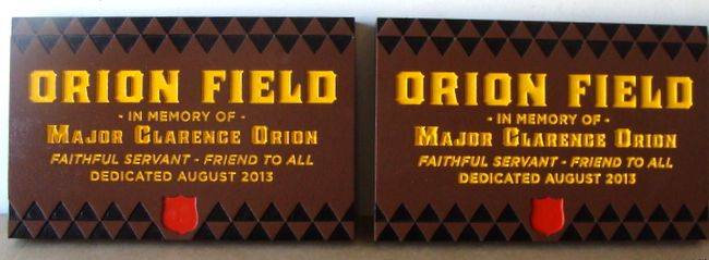 """GC16645 - Engraved Redwood Custom Memorial wall Plaque for """"Orion Field"""" Honoring  Major Clarence Orion."""