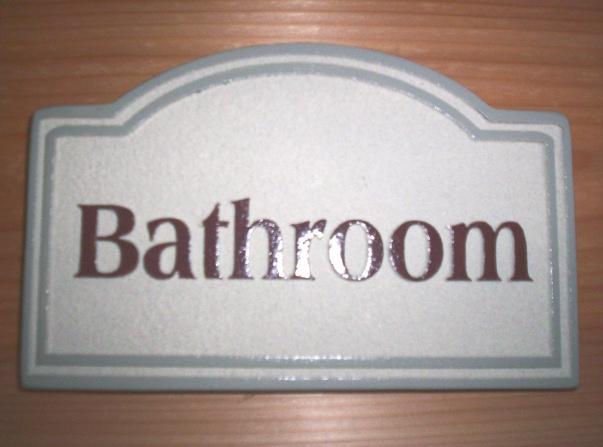"""KA20845 - Carved HDU (Wood Available) Sign """"Bathroom"""""""