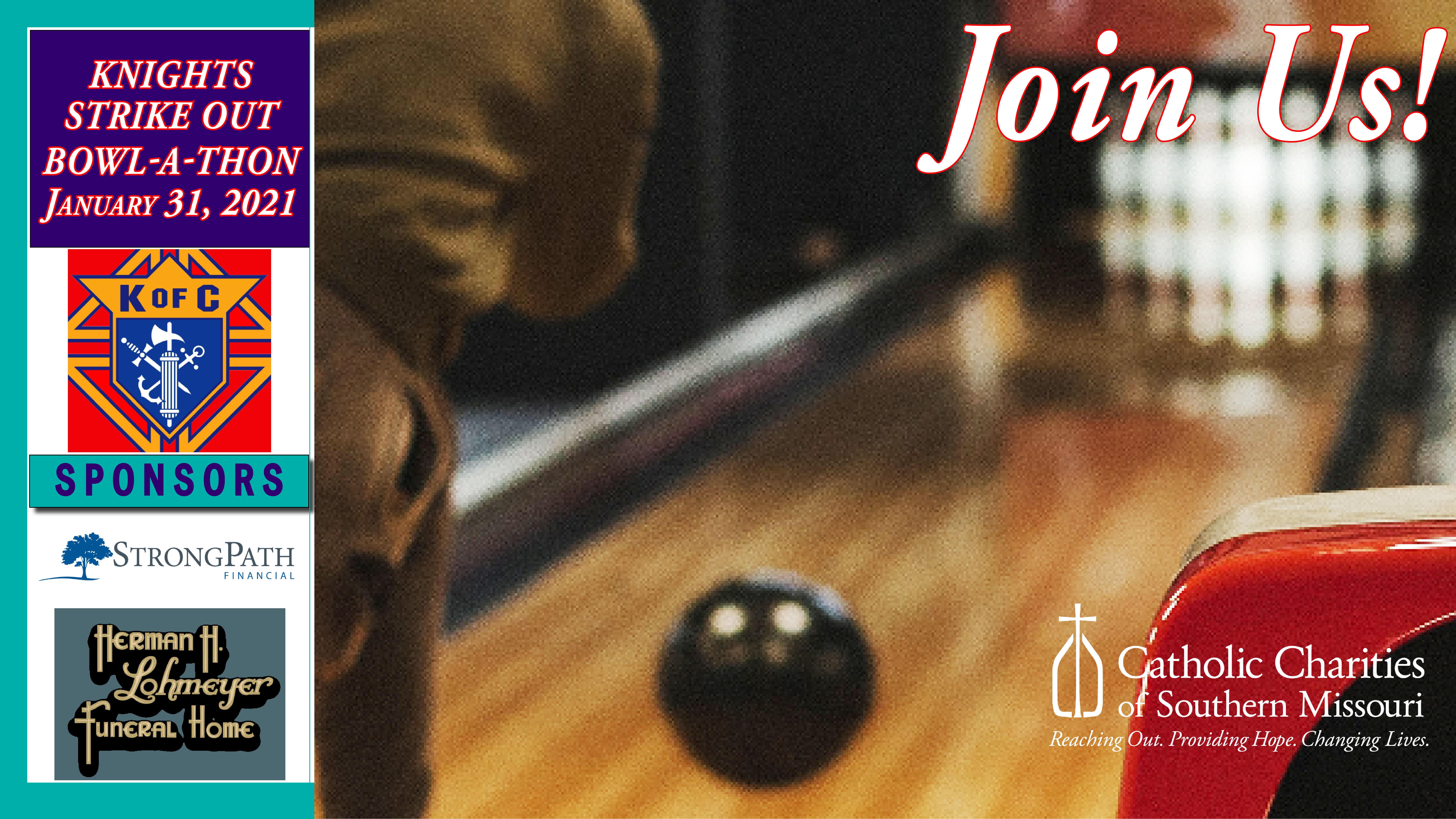 Register for or Sponsor Today the Knights Strike Out Bowl-A-Thon, Jan. 31, 2021