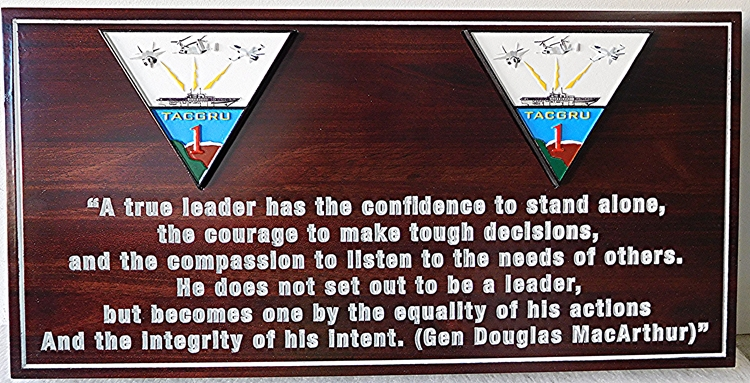JP-1560 - Carved MacArthur Quotation Plaque  for Navy TACGRU ONE,    Engraved in Cedar Wood with Artist Painted Emblems