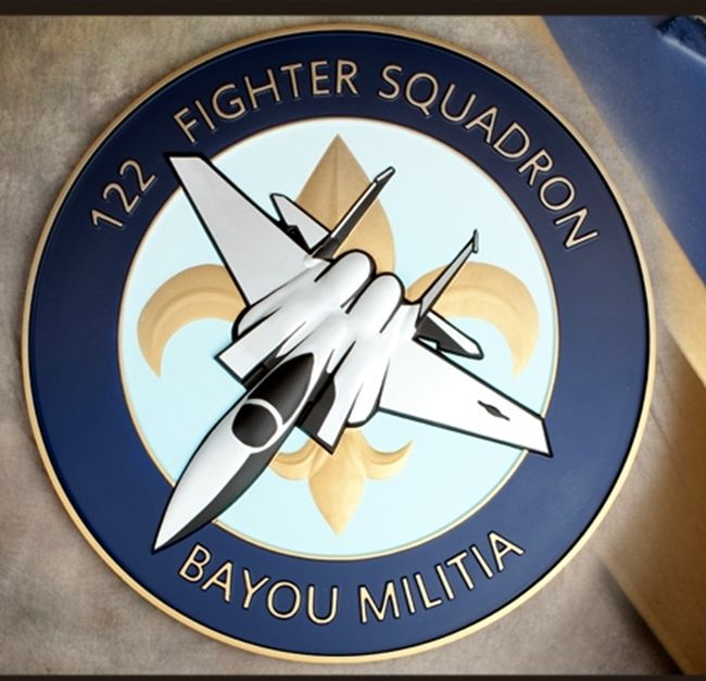 """LP-2480 - Carved Round Plaque of the Crest of the 122nd  Fighter Squadron """"Bayou Militia"""",  Artist Painted"""