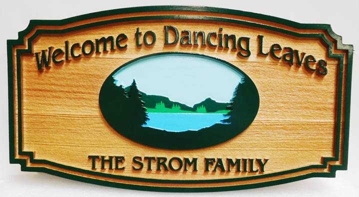 "M22358 - Carved and Sandblasted Cedar Wood  Cabin Name Sign ""We Like It"" , 2.5-D , Artist-Painted with Scene of Lake, Trees and Mountains"