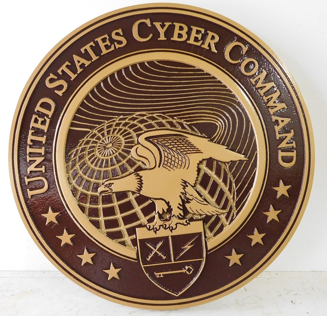 V31134 -  Carved 3-D HDU US Cyber Command Wall Plaque, painted in Bronze shades