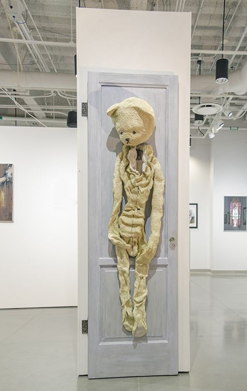 "Memory Mascot, High fired ceramic, mixed media, 80"" x 24"" x 20"""