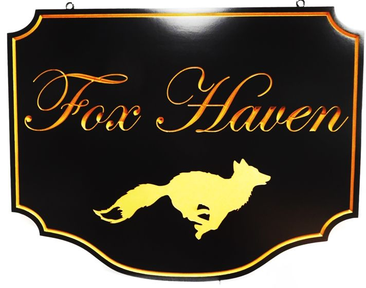 "I18857 - Carved Engraved HDU Property Name Sign ""Fox Haven"", 2.5-D with Script Text and.Border Gilded with Gold Leaf, and Running Fox as Artwork"