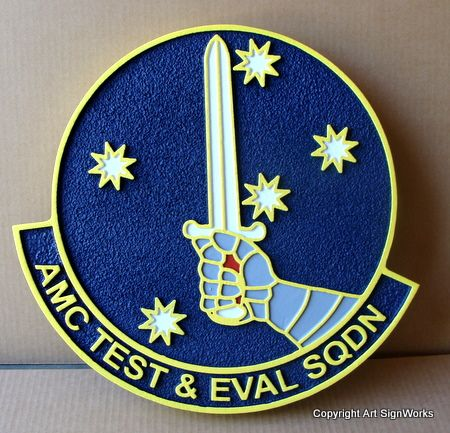 V31533 -Carved Wall Plaque of the Crest  AMC Test & Evaluation Squadron with Sword
