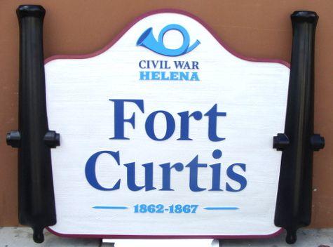G16241 - Carved 3D HDU Historical Park Sign, Fort Curtis, Montana
