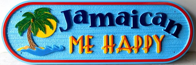"L21131 - Coastal Residence Sign ""Jamaican Be Happy"",  with  Ocean, a Beach, Palm Trees & Setting Sun"