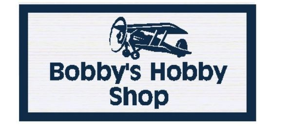 """N23604 -  2.5-D Carved  HDU  Wall Plaque,""""Bobby's Hobby Shop"""" , with a Small  Model Aircraft as Artwork."""