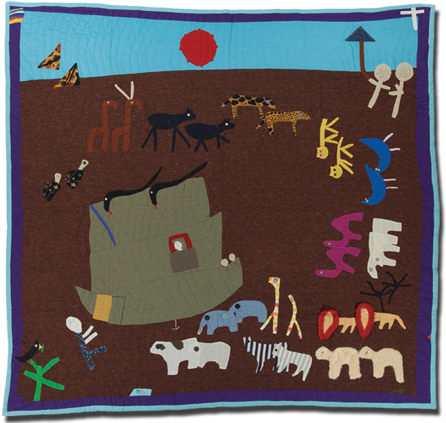 'Noah's Ark,' made by Yvonne Wells, dated 1988, 71 x 77 in, IQSCM 2000.004.0140
