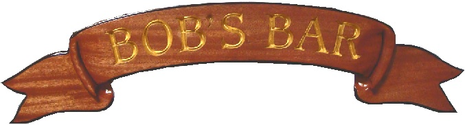 L21802 - Carved Mahogany Ribbon, Engraved Gold-Leaved Text