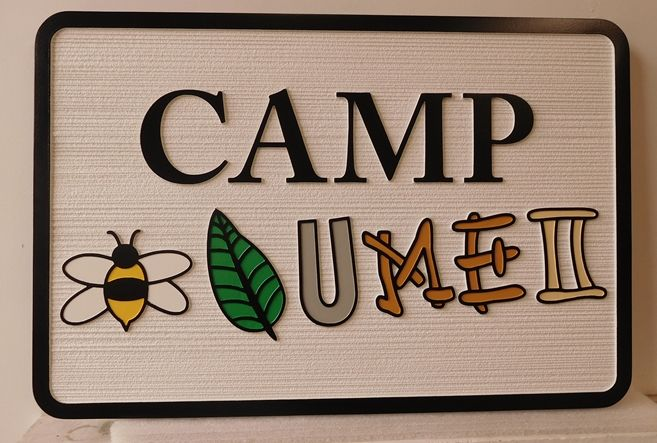 "G16325 - Carved HDU Camp Sign with Pictogram ""Believe You Me To"""