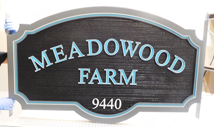 "O24053 - Carved and Sandblasted HDU Entrance Address Sign for ""Meadowood Farm"""