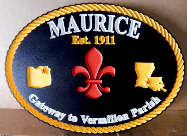 DP-1650 - Carved Plaque of the Seal of the City of Maurice, Louisiana,  Artist Painted