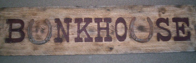 "M3956 - Very Rustic, Antique Look, Carved Wood Sign ""Bunkhouse"" with Horseshoe Letters (Gallery 23)"