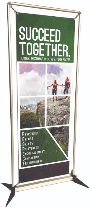 Succeed Together custom banner, banner stand, school banners, easy to setup banner stand