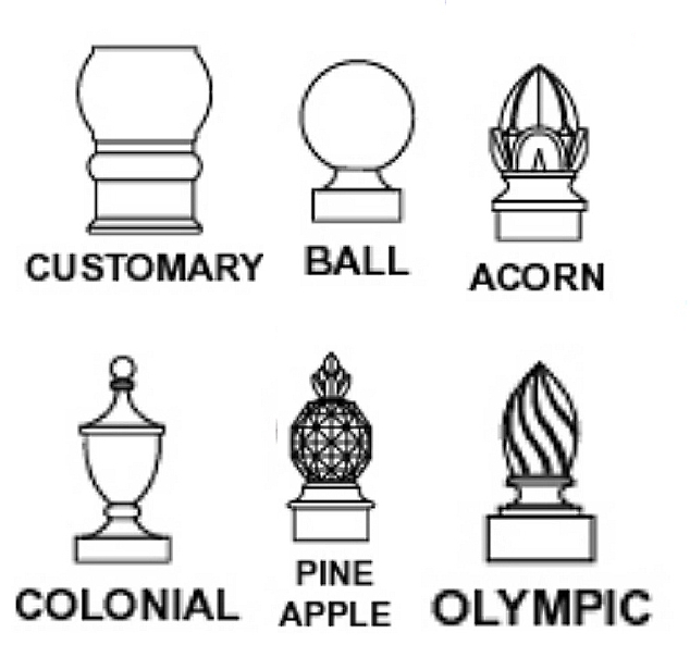 GA16725 - Wood or HDU Sign Post Finials in Customary, Ball, Acorn, Colonial, Pineapple, and Olympic Styles