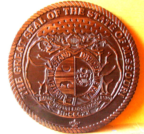 W32301 –Carved 2.5D Redwood Great Seal of the State of Missouri