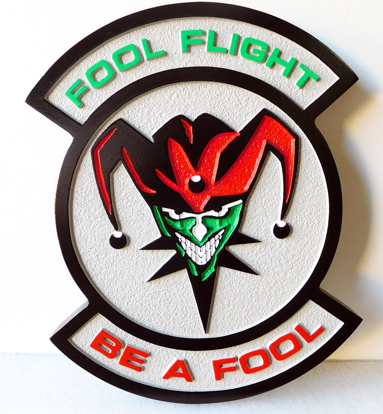 """LP-2680 - Carved Round Plaque of the Crest of the Fool Flight """"Be A Fool"""",  Artist Painted"""